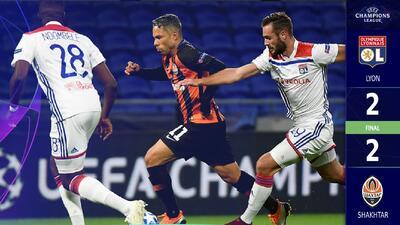 El Shakhtar Donetsk dejó ir una ventaja de dos goles y empató con el Lyon
