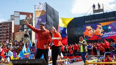 Maduro y su esposa, Cilia Flores, durante el acto de lanzamiento de la c...