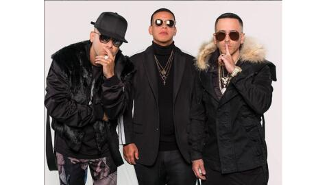 (Left to right) Puerto Rican artists Wisin, Daddy Yankee and Yandel pose...