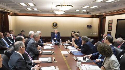 President Donald J. Trump, joined by Vice President Mike Pence, meets wi...