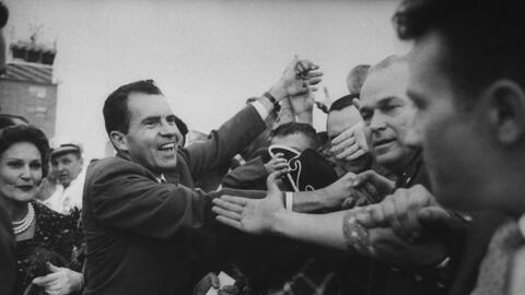 Richard Nixon haciendo campaña en Dakota del Norte en 1960.