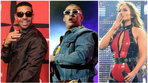 (Left to right:) Rapper Drake, Latin Trap artist Bad Bunny and Singer Je...