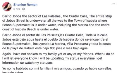 Información publicada por la usuaria de Facebook Shanice Roman sobre Isa...