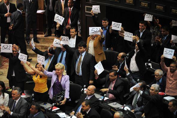 Los 67 diputados opositores respondieron a los oficialistas con hojas qu...