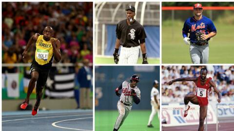 Usain Bolt (izquierda), Michael Jordan (arriba izquierda),  Tim Tebow (a...