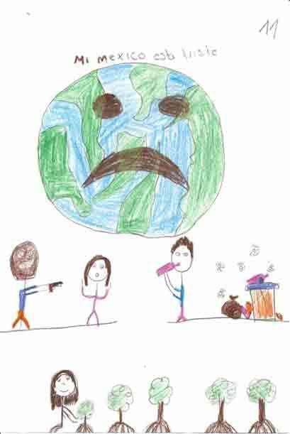 En este dibujo se resalta al mundo con una cara triste. Cortesía...