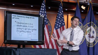 Paul Ryan, líder de los republicanos en la Cámara de Representantes, exp...