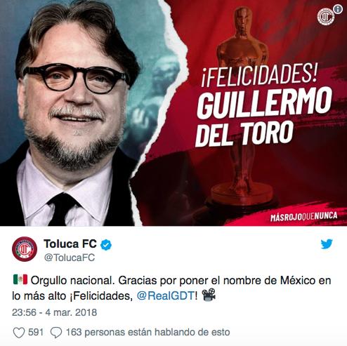 El fútbol mexicano se volcó a felicitar a Guillermo del Toro por su triu...