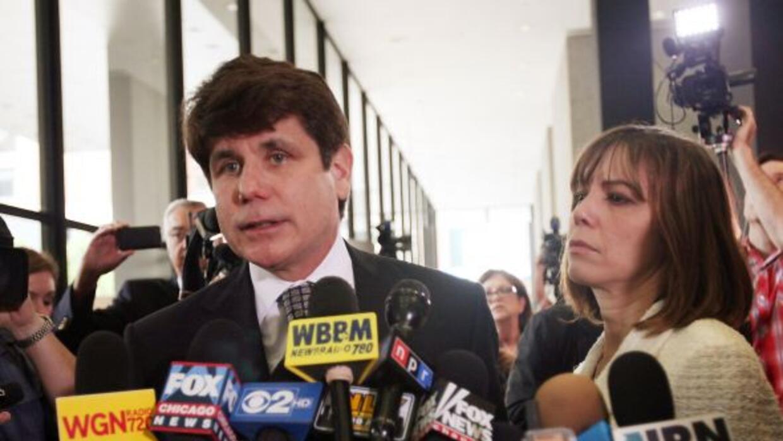 Rod Blagojevich con su esposa Patti el día que fue encontrado culpable d...