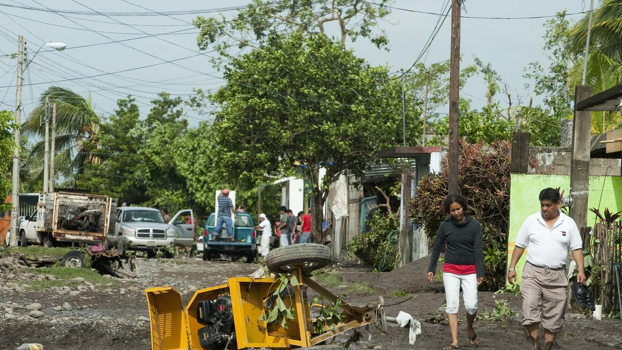 Damage caused by the passage of Hurricane Karl in Cardel, Veracruz, Mexi...