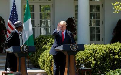 Donald Trump y el presidente de Nigeria, Muhammadu Buhari.
