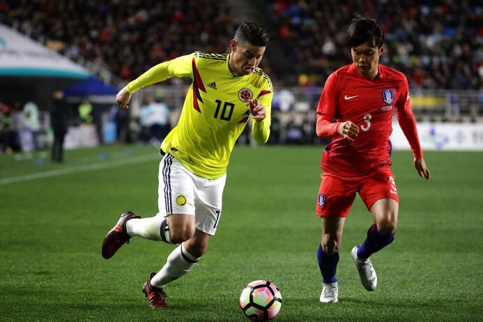 James Rodriguez jugó los 90 minutos del partido en el que Son Heung-Min...