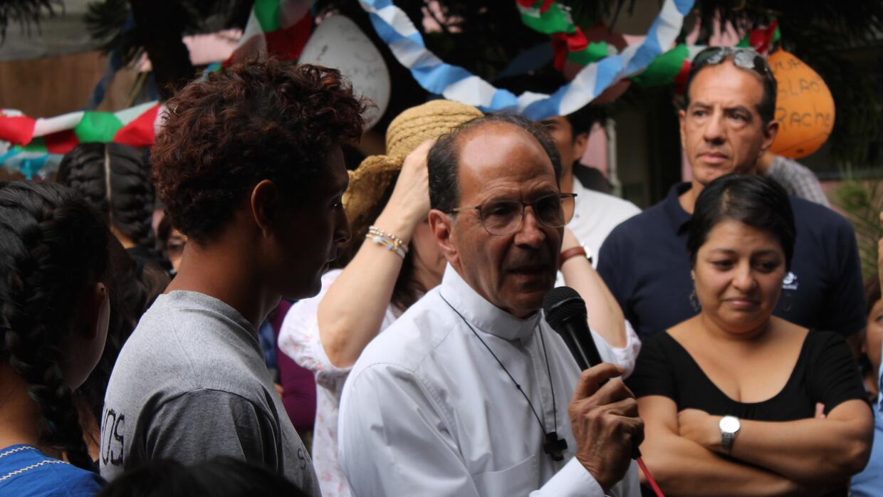 Priest Alejandro Solalinde speaks at the inauguration of Ceporiac in Mex...