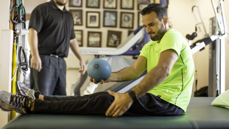 Gianluigi, en medio de un ejercicio de balance.