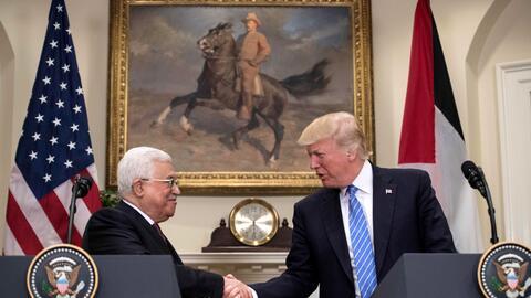 Presidente Donald Trump y Mahmoud Abbas, presidente de la Autoridad Naci...