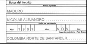 Registro de Nacimiento de Nicolás Maduro publicado por ex embajad...