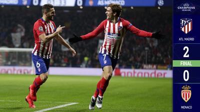 Atlético de Madrid venció sin problemas al AS Monaco y clasificó a Octavos de Final
