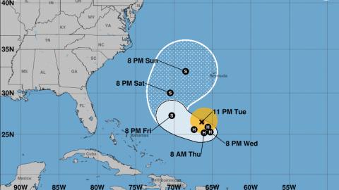 Descripción de la trayectoria prevista para el huracán Jos...