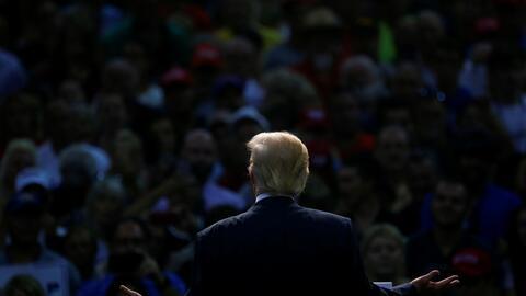 El candidato Donald Trump en un evento en Daytona Beach, Florida, el pas...