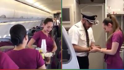 (Video) Capitán interrumpe vuelo para pedirle matrimonio a una azafata