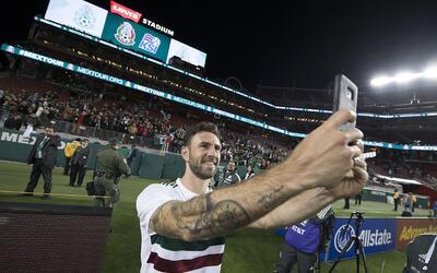 El jugador del Sevilla salió contento tras su doblete ante Islandia,