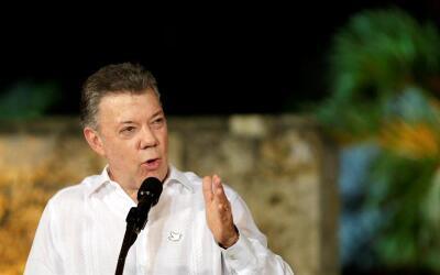 El presidente de Colombia, Juan Manuel Santos, el domingo 13 de Agosto d...