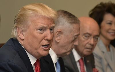 El presidente Donald Trump encabeza una reunión de su gabinete el 31 de...