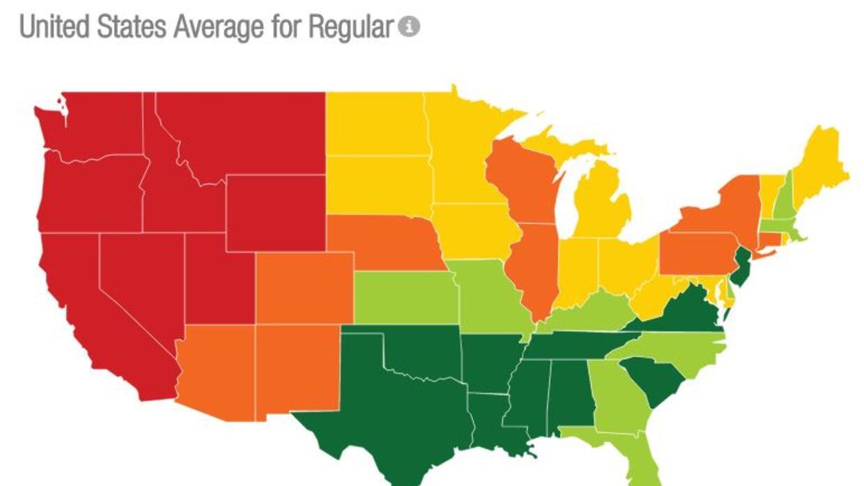 Mapa precio gasolina Estados Unidos