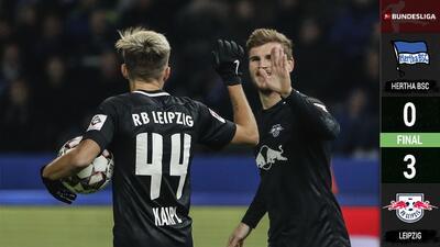 El Leipzig golea al Hertha con doblete de Timo Werner