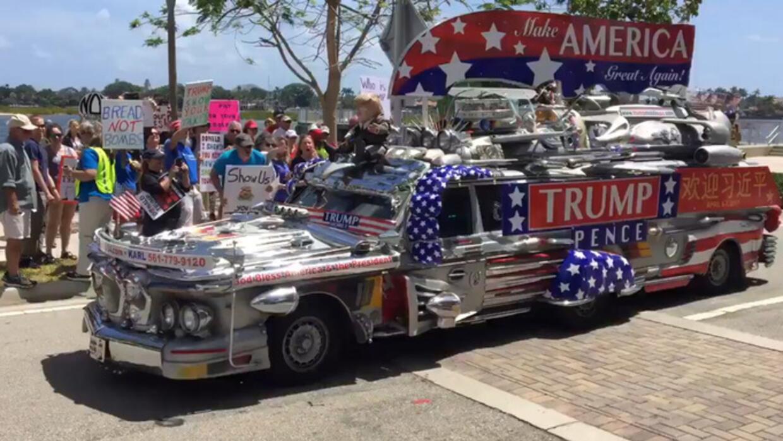 El Trump Mobile de Karl Lindroos, un simpatizante de Trump de Palm Beach.