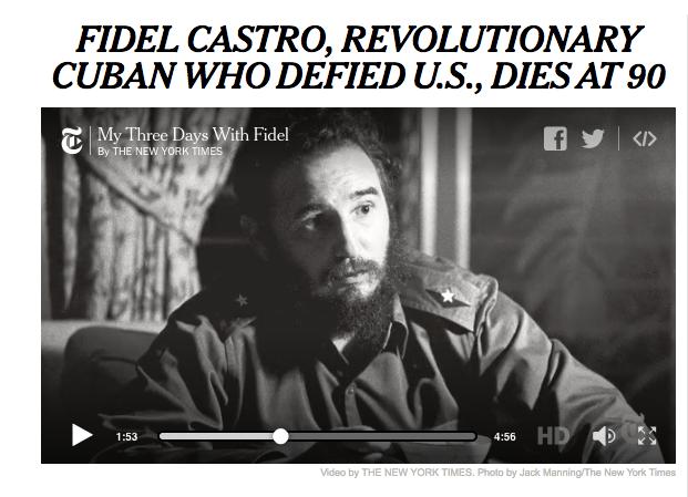 """The New York Times abrió su portada con el titular """"Fidel Castro, e..."""