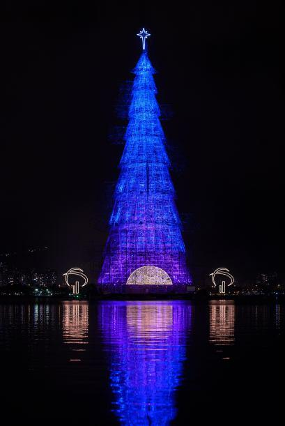 El juego de luces dejó ver un árbol que iba del azul, al verde en segundos.