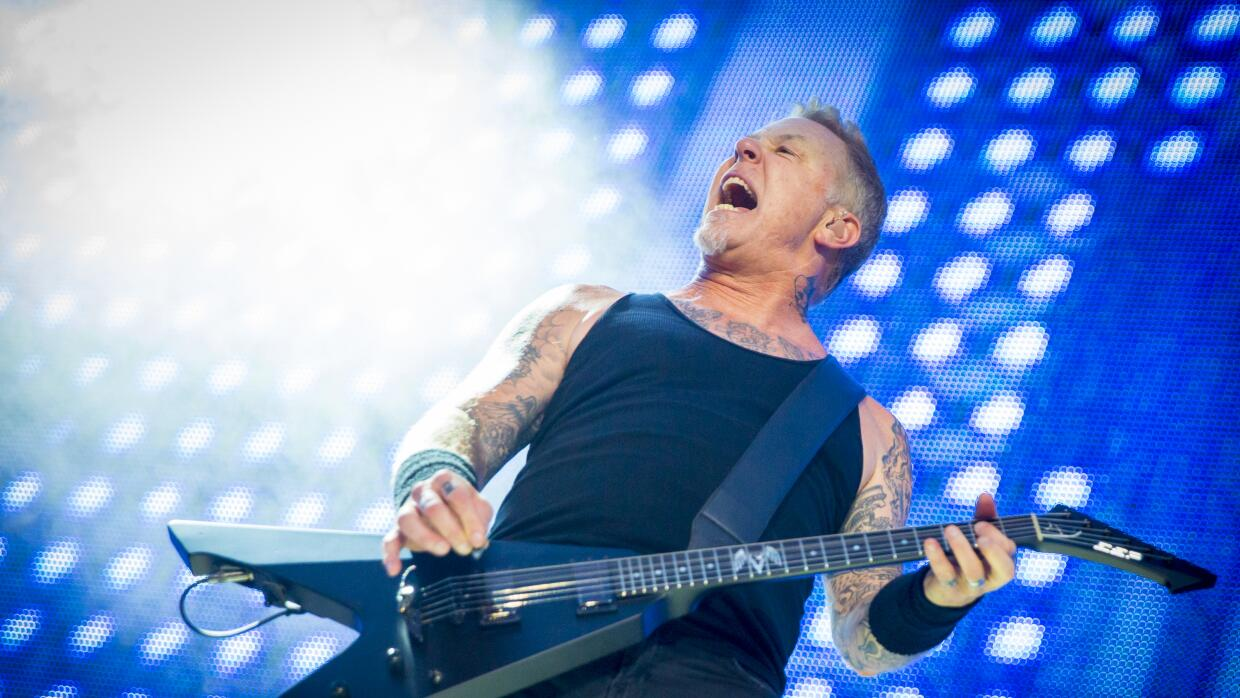MONTREAL, QC - JULY 19: James Hetfield of Metallica performs at Parc Jea...