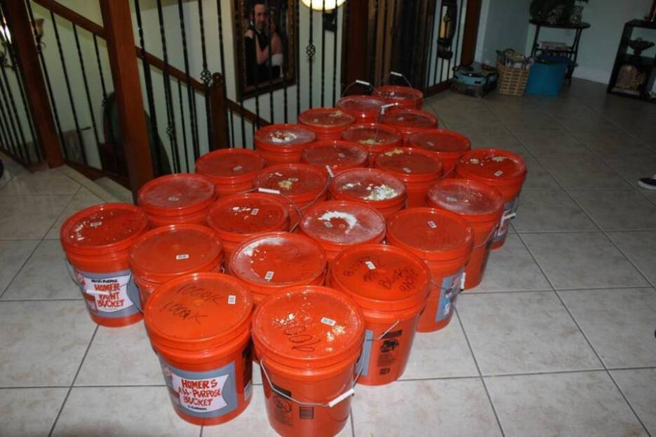 Miami police found the cash hidden in 5-gallon buckets and heat-sealed b...