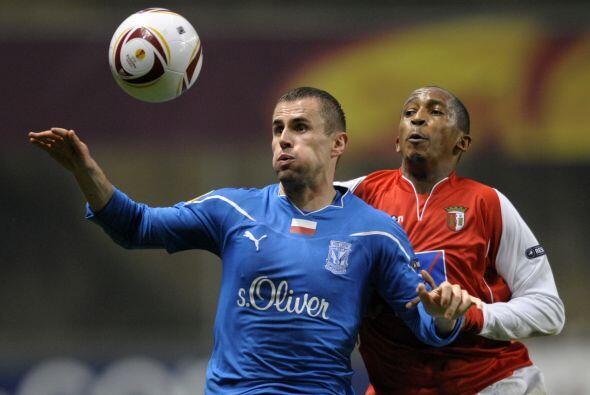 Otro equipo luso, el Braga, recibió al Lech Poznan.