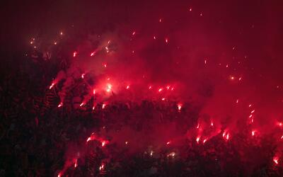La afición durante el juego entre Flamengo e Independiente en la...