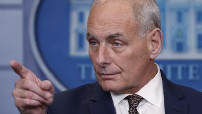 El jefe de gabinete de la Casa Blanca, John Kelly, en una conferencia de...