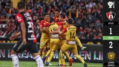 Atlas vuelve a la realidad, no puede con Leones Negros en la Copa MX