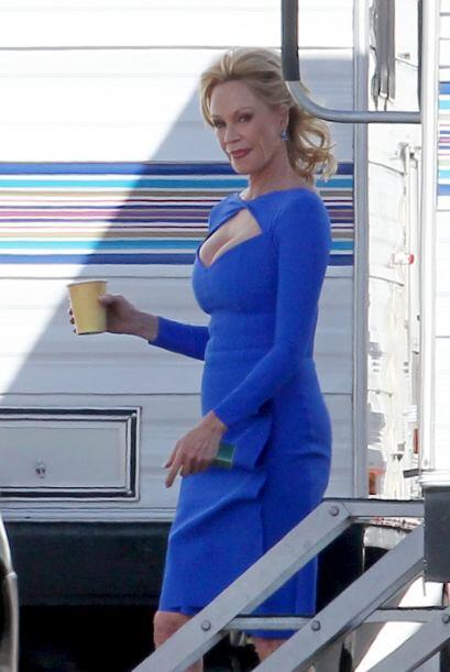Los paparazzi la captaron en el set de 'The Brainy Bunch'.