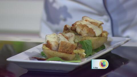 """Potatoes Skins"" Rellenas de Bistec Empanado de Pollo Premium La Aguadil..."