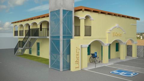 Maqueta de la biblioteca pública de El Cenizo, una ciudad de 3,30...