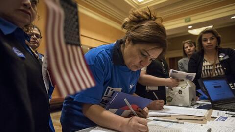 Votantes durante las primarias de Nevada.