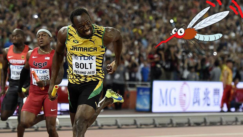 Usain Bolt espera escaparse de los mosquitos en Río de Janeiro.