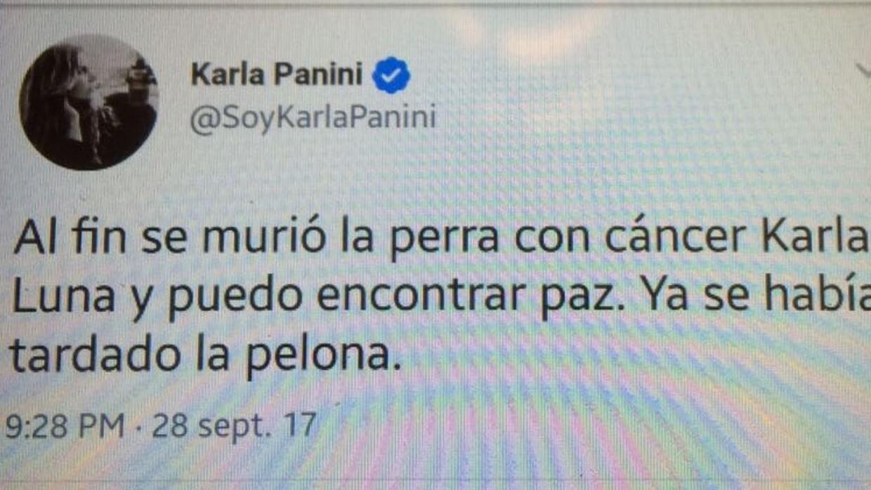 Este fue el tuit que se encontró en la cuenta de Karla Panini.