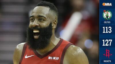 ¡James Harden está vuelto una bestia! Anota 45 en la victoria de Rockets sobre Celtics