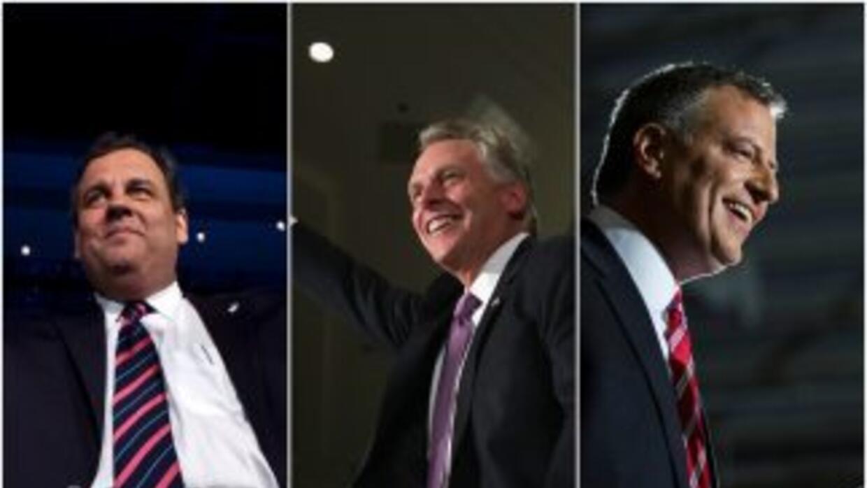 En la imagen aparecen el gobernador de NJ, Chris Christie, el gobernador...