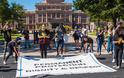 Dreamers durante una jornada de protesta en apoto a DACA.