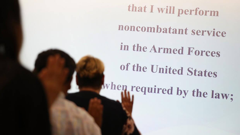 Una ceremonia de naturalización en San Francisco, California.