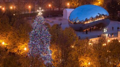 Ceremonia de iluminación del árbol de Navidad en Chicago