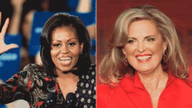 La Primera Dama de Estados Unidos, Michelle Obama, y la esposa del candi...